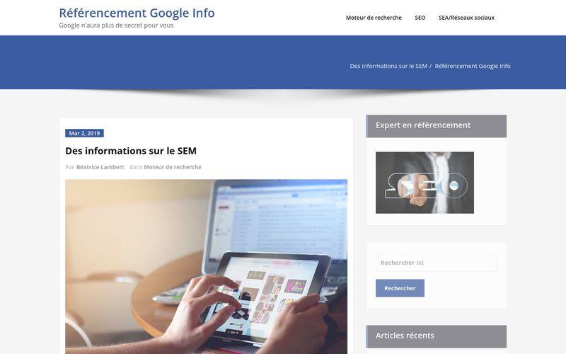 Référencement Google Info - Google n'aura plus de secret pour vous